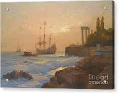 Triumphant Ship Approaching The Harbour Acrylic Print by Celestial Images