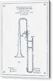 Trombone Patent From 1902 - Blue Ink Acrylic Print by Aged Pixel