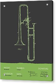 Trombone Patent From 1902 - Modern Gray Green Acrylic Print by Aged Pixel