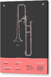 Trombone Patent From 1902 - Modern Gray Salmon Acrylic Print by Aged Pixel