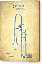 Trombone Patent From 1902 - Vintage Paper Acrylic Print by Aged Pixel