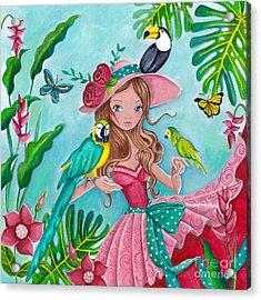 Tropical Bird Love Acrylic Print by Caroline Bonne-Muller