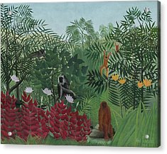 Tropical Forest With Monkeys Acrylic Print by Henri J F Rousseau