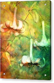 Trumpet Lilies In A Magical Forest Acrylic Print by Georgiana Romanovna