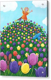 Tulip Time Painting Acrylic Print by Christy Beckwith