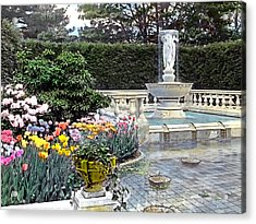 Tulips And Fountain Acrylic Print by Terry Reynoldson