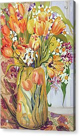 Tulips And Narcissi In An Art Nouveau Vase Acrylic Print by Joan Thewsey