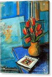 Tulips In The Mirror Acrylic Print by Mona Edulesco