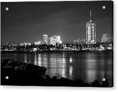 Tulsa In Black And White - University Tower View Acrylic Print by Gregory Ballos
