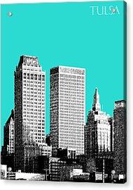 Tulsa Skyline - Aqua Acrylic Print by DB Artist