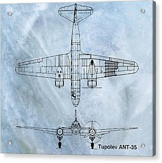 Tupolev Ant-35 Blueprint Acrylic Print by Dan Sproul