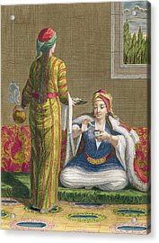Turkish Girl, Having Coffee Acrylic Print by Jean-Baptiste Haussard