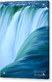 Turquoise Blue Waterfall Acrylic Print by Peta Thames