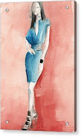 Turquoise Dress Watercolor Fashion Illustration Acrylic Print by Beverly Brown Prints