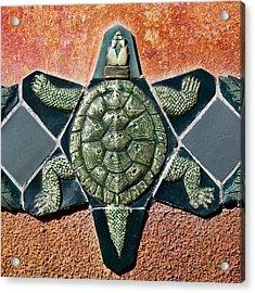 Turtle Mosaic Acrylic Print by Carol Leigh