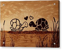 Turtles Love Coffee Painting Acrylic Print by Georgeta  Blanaru