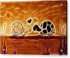 Turtles Love Fractalius Acrylic Print by Georgeta Blanaru