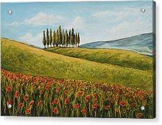 Tuscan Field With Poppies Acrylic Print by Melinda Saminski