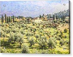 Tuscan Landscape Acrylic Print by Liz Leyden