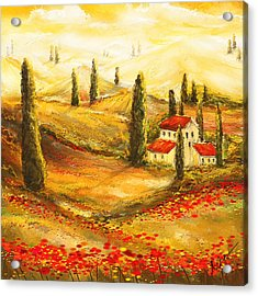 Tuscan Poppies - Tuscan Poppy Fields Impressionist Acrylic Print by Lourry Legarde
