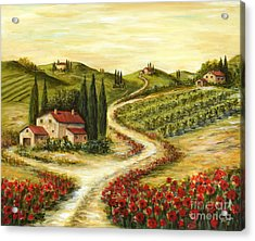 Tuscan Road With Poppies Acrylic Print by Marilyn Dunlap