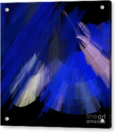 Tutu Stage Left Blue Abstract Acrylic Print by Andee Design