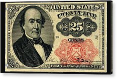 Twenty Five Cents 5th Issue U.s. Fractional Currency Acrylic Print by Lanjee Chee