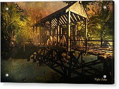 Twilight Bridge Acrylic Print by Kylie Sabra