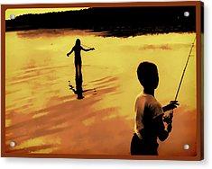 Twilight Fishing Acrylic Print by John Hansen