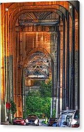 Twilight Under A Fremont Bridge Acrylic Print by Chris Anderson