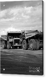 Twin Caterpillar Trucks Acrylic Print by Alanna DPhoto