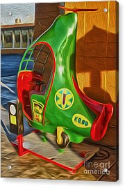 Twirly Bird - Red And Green Acrylic Print by Gregory Dyer