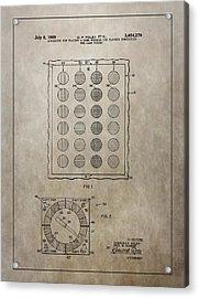 Twister Gameboard Patent Acrylic Print by Dan Sproul