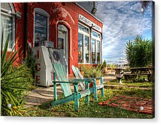 Two Chairs Around The Corner From The Old Stuff Shop Acrylic Print by Lynn Jordan