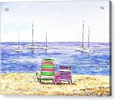 Two Chairs On The Beach Acrylic Print by Irina Sztukowski