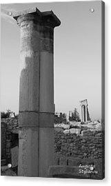 Two Columns At Apollo Sanctuary Acrylic Print by Augusta Stylianou