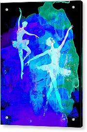 Two Dancing Ballerinas  Acrylic Print by Naxart Studio