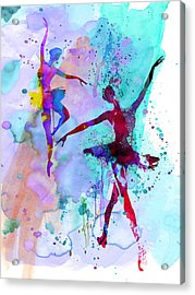 Two Dancing Ballerinas Watercolor 2 Acrylic Print by Naxart Studio