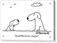 Two Dogs Are Seen Talking To Each Other Acrylic Print by Charles Barsotti