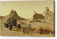 Two Explorers Collect Rock Samples Acrylic Print by Corey Ford