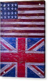 Two Flags American And British Acrylic Print by Garry Gay
