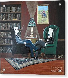 Two Gentlemen Sitting In Wingback Chairs At Private Club Acrylic Print by John Lyes