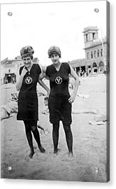 Two Girls At Venice Beach Acrylic Print by Underwood Archives