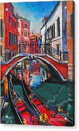 Two Gondolas In Venice Acrylic Print by Mona Edulesco