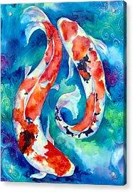 Two Koi Fish Acrylic Print by Christy  Freeman