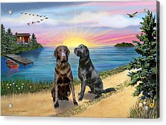 Two Labs At The Lake Acrylic Print by Jean B Fitzgerald
