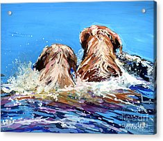 Two Labs One Wake Acrylic Print by Molly Poole