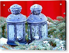 Two Lanterns Frozty Acrylic Print by Toppart Sweden