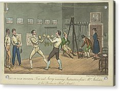 Two Men Boxing Acrylic Print by British Library