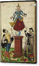 Two Men Pulling The Strings Of A Puppet Acrylic Print by British Library